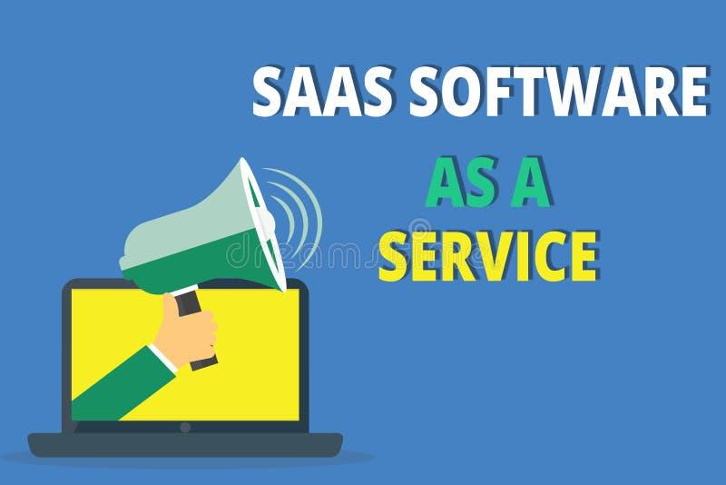 Texte d'écriture écrivant le logiciel de Saas comme service Le concept signifiant l'utilisation du nuage a basé l'APP au-dessus d illustration stock