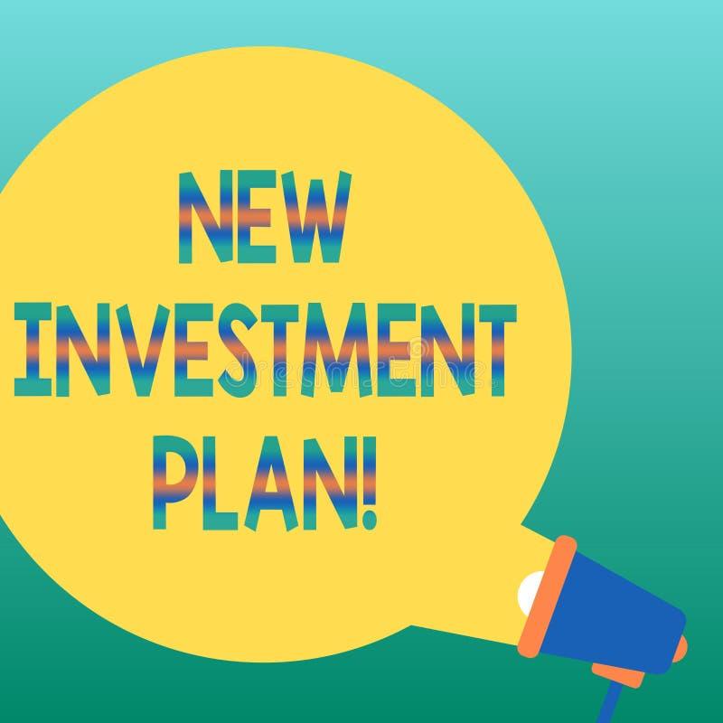 Texte d'écriture écrivant le nouveau plan d'investissement Le concept signifiant des investisseurs effectuent des paiements égaux illustration de vecteur