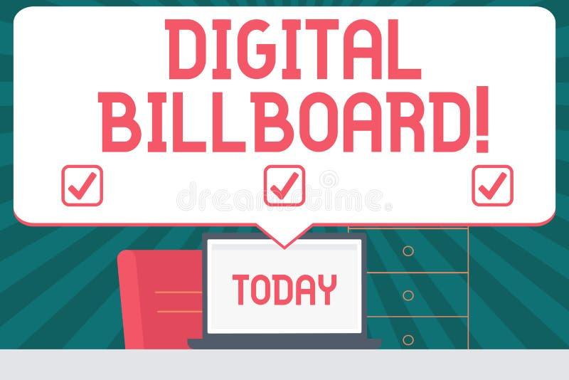 Texte d'écriture écrivant le panneau d'affichage de Digital Panneau d'affichage de signification de concept qui montre des images illustration stock