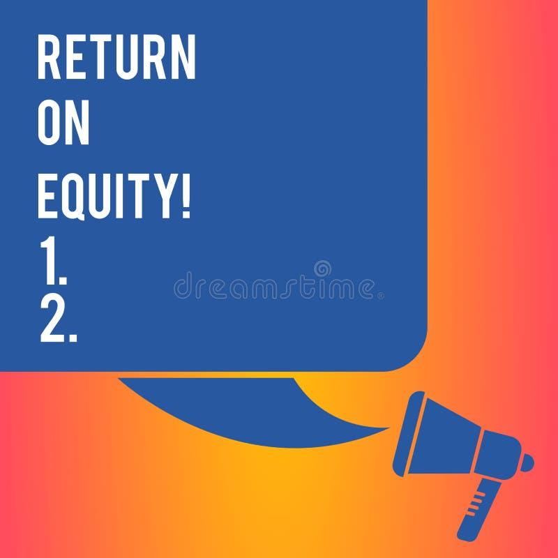 Texte d'écriture écrivant le retour sur des capitaux propres Concept signifiant des affaires de rentabilité par rapport à la vale illustration stock
