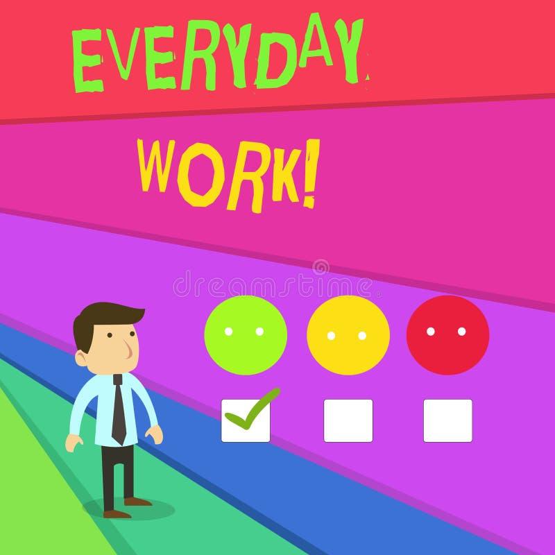 Texte d'écriture écrivant le travail quotidien La signification de concept se rapporte à des choses ou les activités existent ou  illustration libre de droits