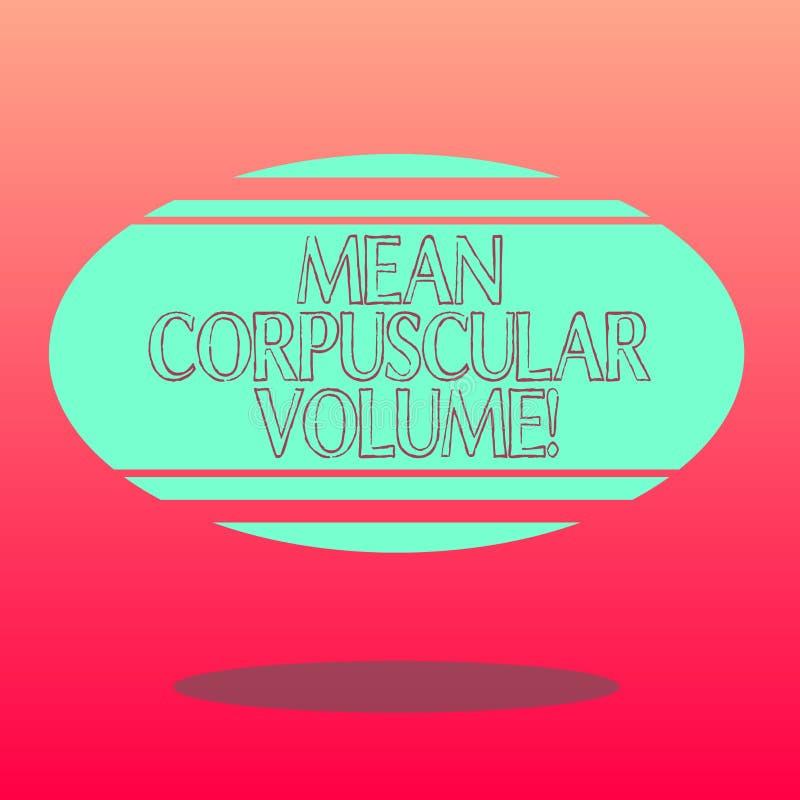 Texte d'écriture écrivant le volume corpusculaire moyen Volume de moyenne de signification de concept d'une mesure rouge de corpu illustration libre de droits