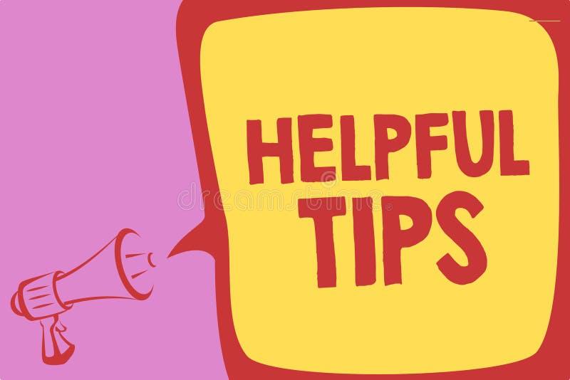 Texte d'écriture écrivant les astuces utiles Concept signifiant des conseils secrets utiles de l'information donnés pour accompli illustration libre de droits