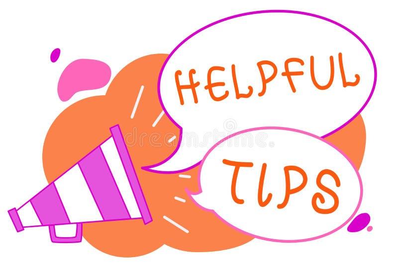 Texte d'écriture écrivant les astuces utiles Concept signifiant des conseils secrets utiles de l'information donnés pour accompli illustration stock