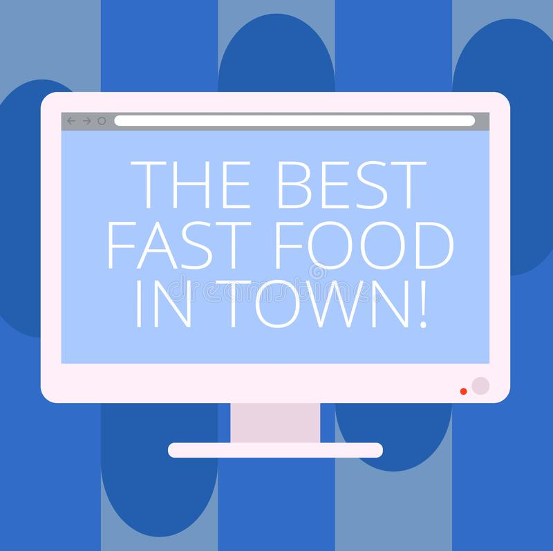 Texte d'écriture écrivant les meilleurs aliments de préparation rapide en ville Hamburgers et fritures savoureux de plats d'ordur illustration de vecteur