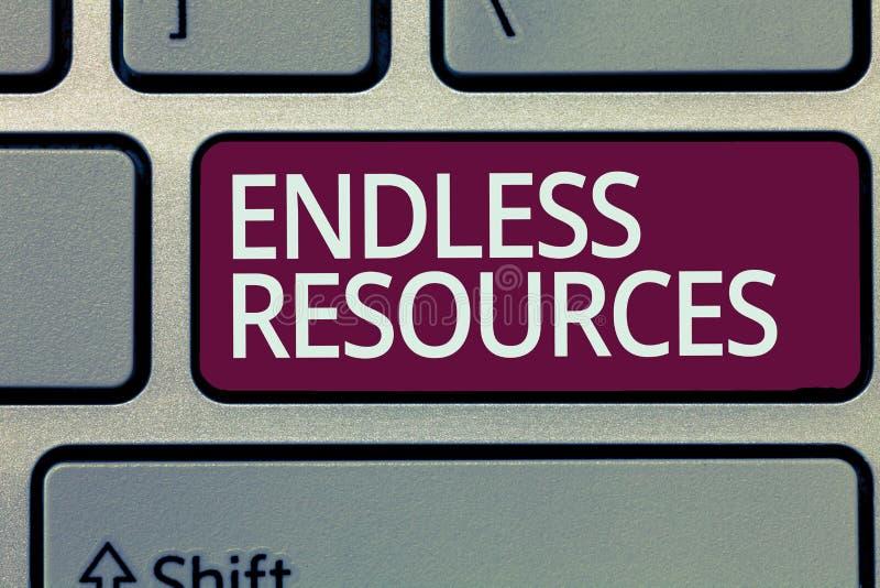 Texte d'écriture écrivant les ressources sans fin Concept signifiant l'approvisionnement illimité en actions ou aide financière images libres de droits