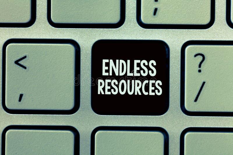 Texte d'écriture écrivant les ressources sans fin Concept signifiant l'approvisionnement illimité en actions ou aide financière photographie stock