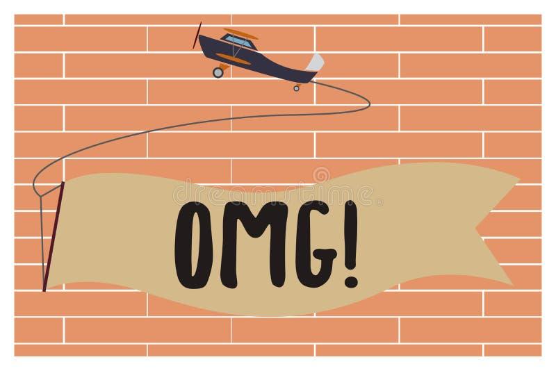Texte d'écriture écrivant Omg La signification de concept employée pour exprimer l'incrédulité SMS d'excitation de choc a raccour illustration stock