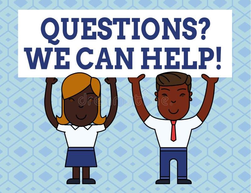 Texte d'écriture écrivant Questionsquestion que nous pouvons aider Aide de offre de signification de concept à ceux qui veut conn illustration libre de droits