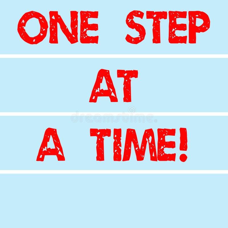 Texte d'écriture écrivant une étape à la fois Actions de signification de concept petites aller lentement mais atteindre de façon illustration stock