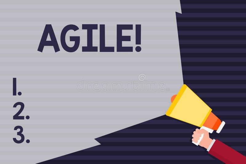 Texte d'écriture agile La signification de concept développent une agilité vers le mégaphone de participation de main d'évolution illustration de vecteur