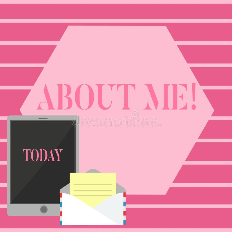Texte d'écriture au sujet de moi Le concept signifiant mon information personnelle de caractéristiques aime et des aversions illustration de vecteur