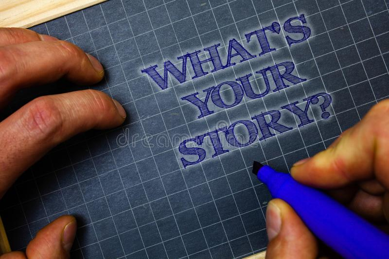 Texte d'écriture ce qui est votre question d'histoire Signification de concept demandant à quelqu'un de me dire au sujet de se le photos libres de droits