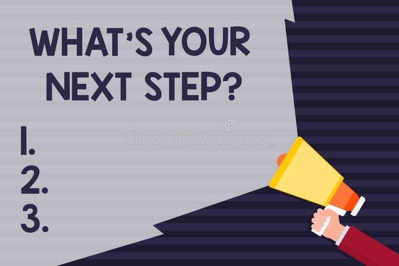 Texte d'écriture ce qui S votre prochain Stepquestion La signification Analyse de concept se demandent qu'avant de prendre des dé illustration de vecteur
