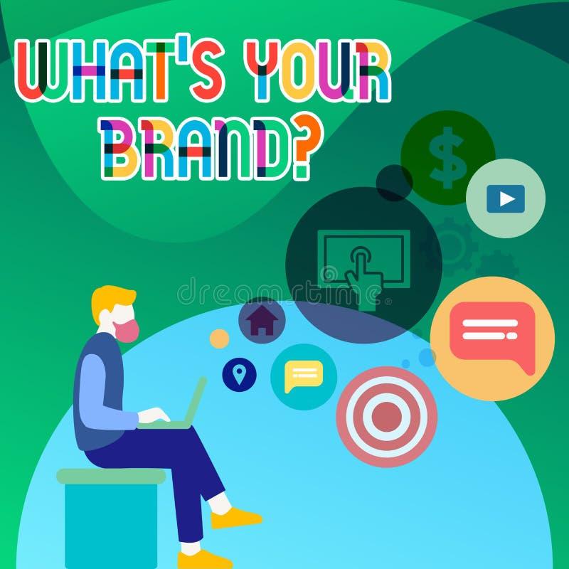 Texte d'écriture ce qui S votre question de marque La signification de concept s'enquérant du logo de produit fait ou ce qui vous illustration libre de droits