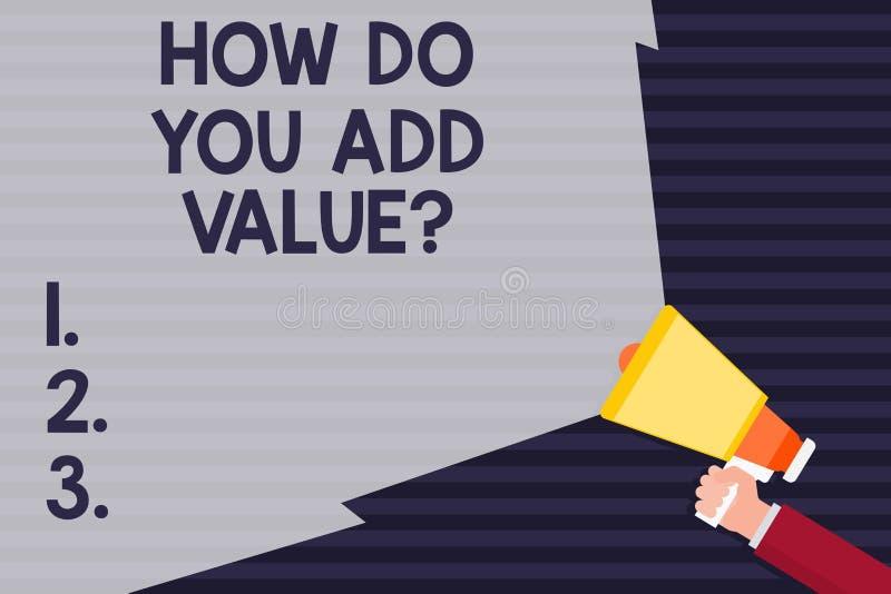 Texte d'écriture comment vous ajoutez Valuequestion La signification de concept apportent le progrès d'affaires pour contribuer p illustration stock