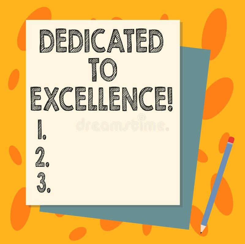 Texte d'écriture consacré à l'excellence Concept signifiant un engagement ou une promesse de faire quelque chose exceptionnelleme illustration libre de droits
