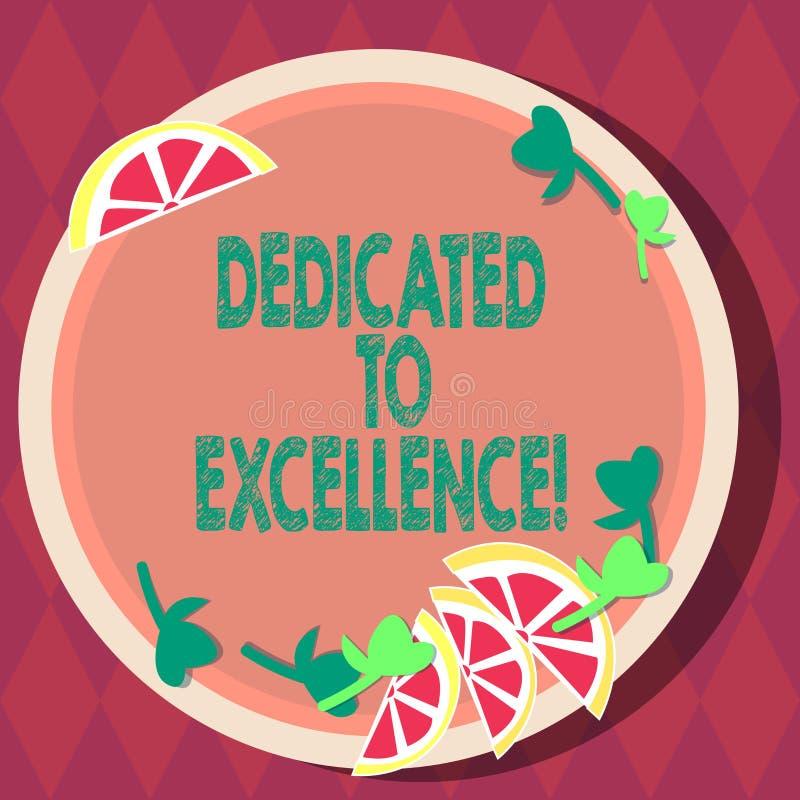 Texte d'écriture consacré à l'excellence Concept signifiant un engagement ou une promesse de faire quelque chose exceptionnelleme illustration de vecteur