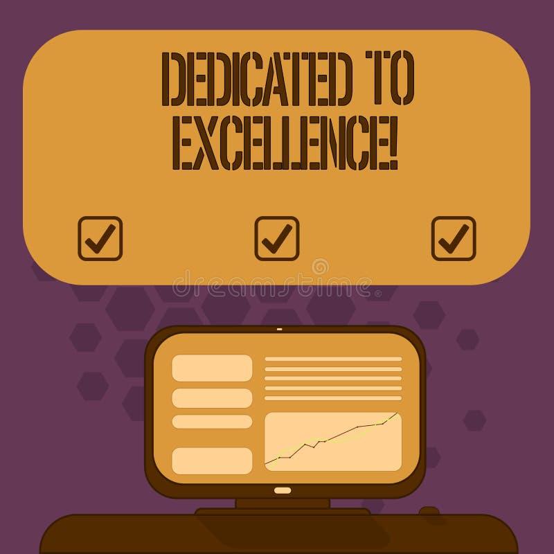 Texte d'écriture consacré à l'excellence Concept signifiant un engagement ou une promesse de faire quelque chose exceptionnelleme illustration stock