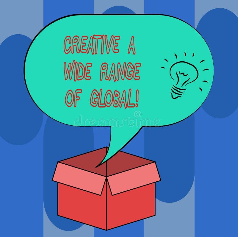 Texte d'écriture créatif un large éventail de global La signification de concept a écarté la créativité autour de l'icône d'idée  illustration stock
