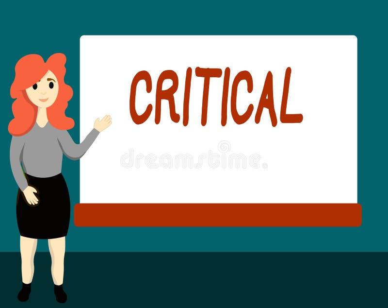 Texte d'écriture critique La signification de concept exprimant la désapprobation défavorable commente déception de jugements illustration de vecteur