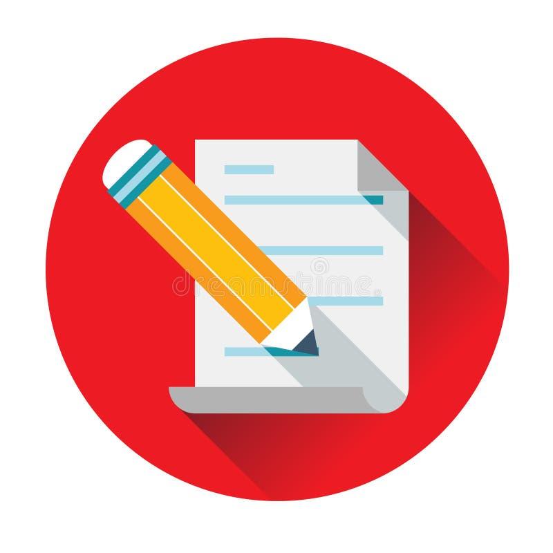 Texte d'écriture de crayon sur l'icône de papier illustration stock