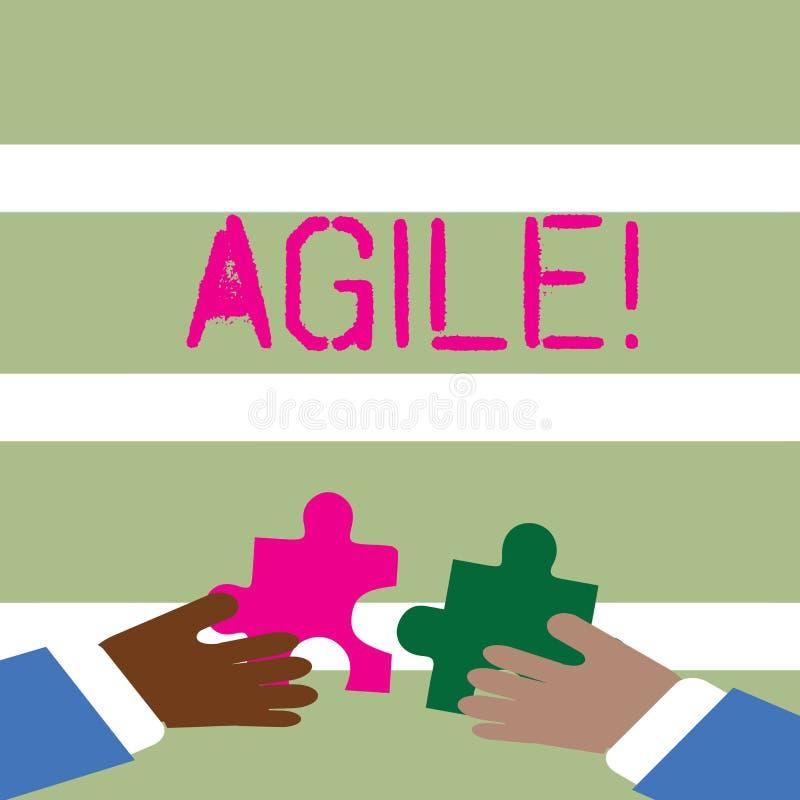 Texte d'écriture de Word agile Concept d'affaires pour Develop une agilité vers des mains de l'évolution technologique deux jugea illustration libre de droits