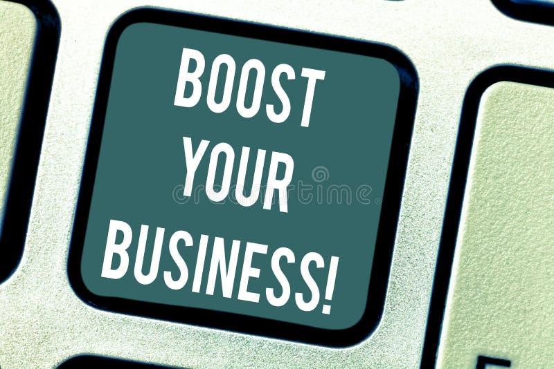 Texte d'écriture de Word amplifier vos affaires Concept d'affaires pour améliorer une certaine mesure de croissance de succès d'e photo stock