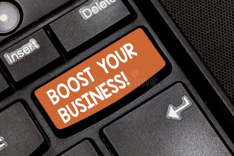 Texte d'écriture de Word amplifier vos affaires Concept d'affaires pour améliorer une certaine mesure de croissance de succès d'e photographie stock