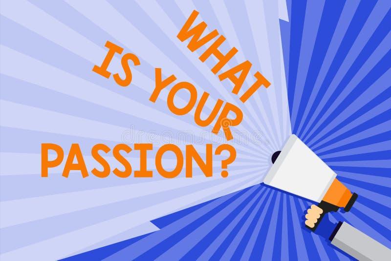 Texte d'écriture de Word ce qui est votre question de passion Concept d'affaires pour s'enquérir de son fort et à peine contrôlab illustration libre de droits