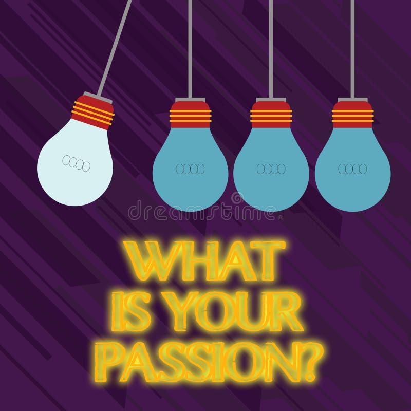 Texte d'écriture de Word ce qui est votre question de passion Concept d'affaires pour s'enquérir de son fort et à peine contrôlab illustration de vecteur
