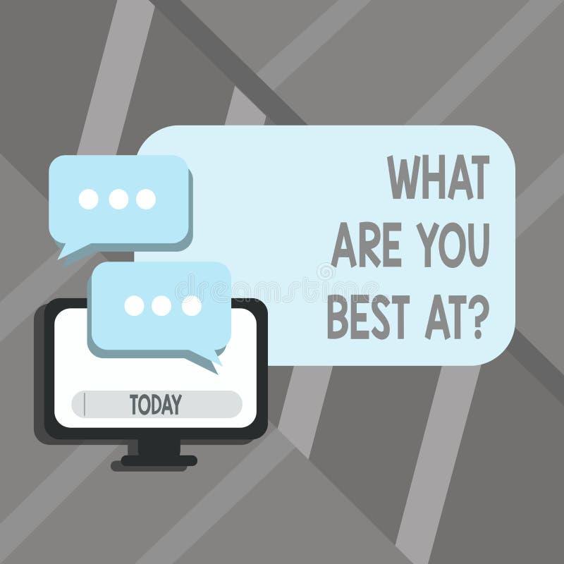 Texte d'écriture de Word ce qui sont vous meilleur Atquestion Le concept d'affaires pour la créativité individuelle est une capac illustration de vecteur