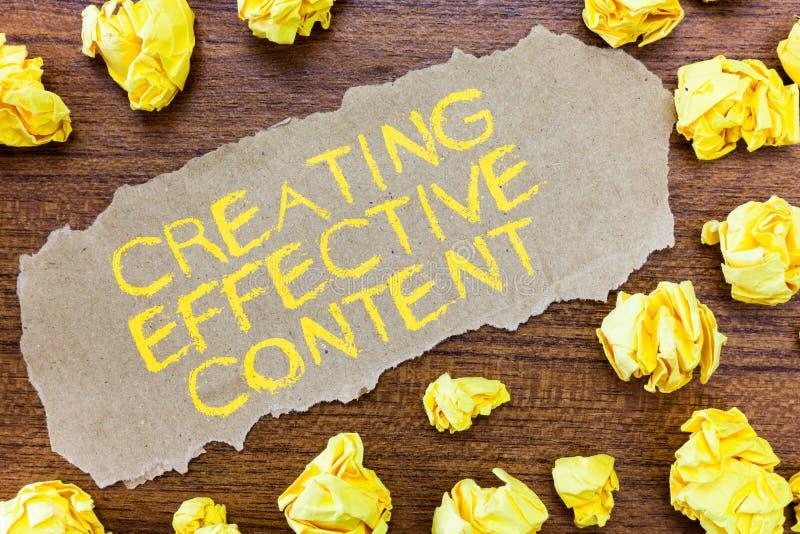 Texte d'écriture de Word créant le contenu efficace Concept d'affaires pour convivial instructif de données de valeur images libres de droits