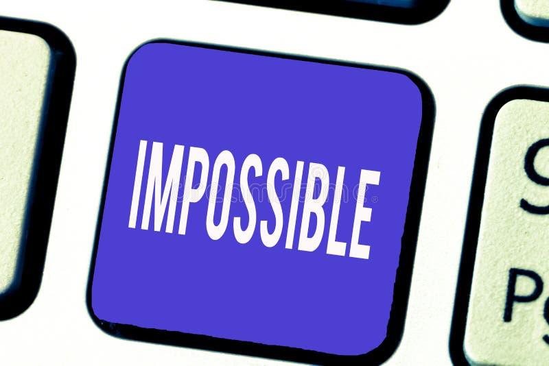 Texte d'écriture de Word impossible Le concept d'affaires pour que non capable se produise existent ou soient stimulant difficile photo stock