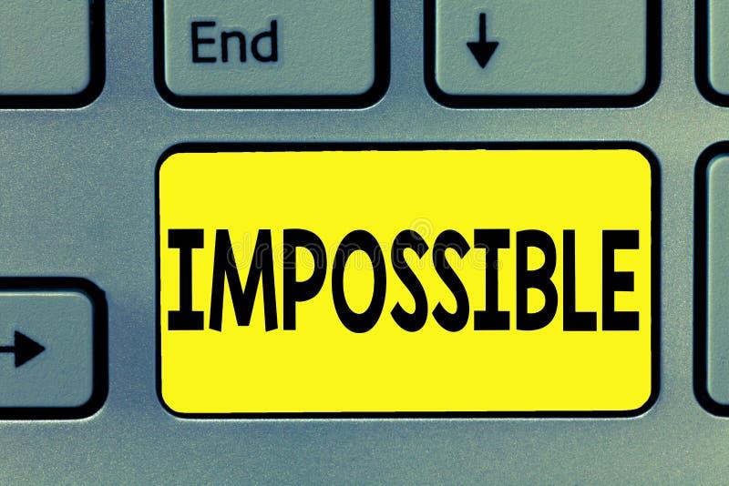 Texte d'écriture de Word impossible Le concept d'affaires pour que non capable se produise existent ou soient stimulant difficile photographie stock libre de droits