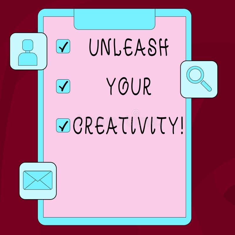 Texte d'écriture de Word lâcher votre créativité Concept d'affaires pour la sagesse personnelle de caractère facétieux d'intellig illustration de vecteur