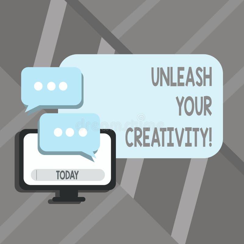 Texte d'écriture de Word lâcher votre créativité Concept d'affaires pour la sagesse personnelle de caractère facétieux d'intellig illustration stock