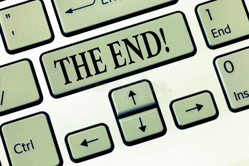 Texte d'écriture de Word l'extrémité Concept d'affaires pour la partie finale de la conclusion de finition d'acte de film d'événe photographie stock libre de droits