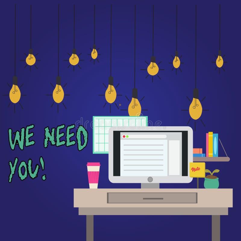 Texte d'écriture de Word nous avons besoin de vous Concept d'affaires pour demander à quelqu'un de travailler ensemble pour certa illustration de vecteur