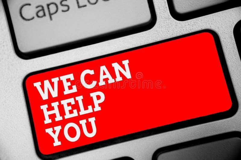 Texte d'écriture de Word nous pouvons vous aider Concept d'affaires pour le clavier de offre d'attention de service client d'aide image libre de droits