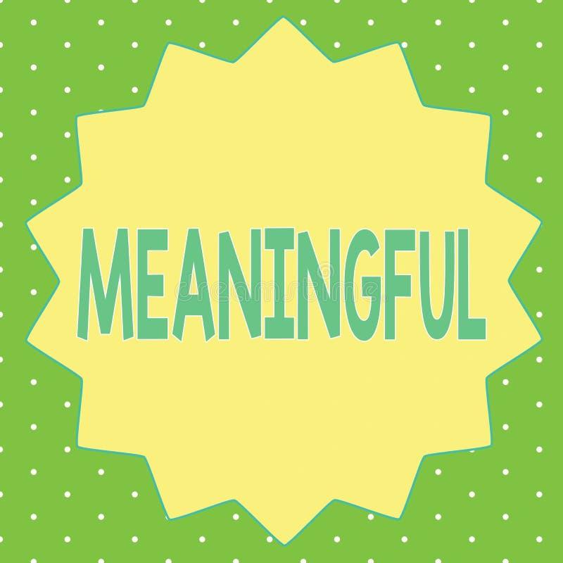 Texte d'écriture de Word signicatif Concept d'affaires pour avoir signifier utile important approprié significatif illustration stock
