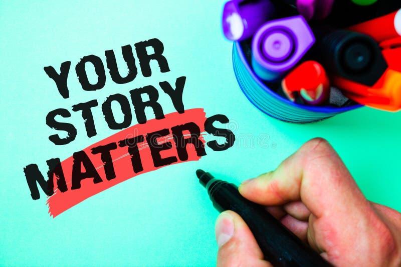 Texte d'écriture de Word vos sujets d'histoire Concept d'affaires pour la part votre vari exprès de stylo de marqueur de sentimen photos stock