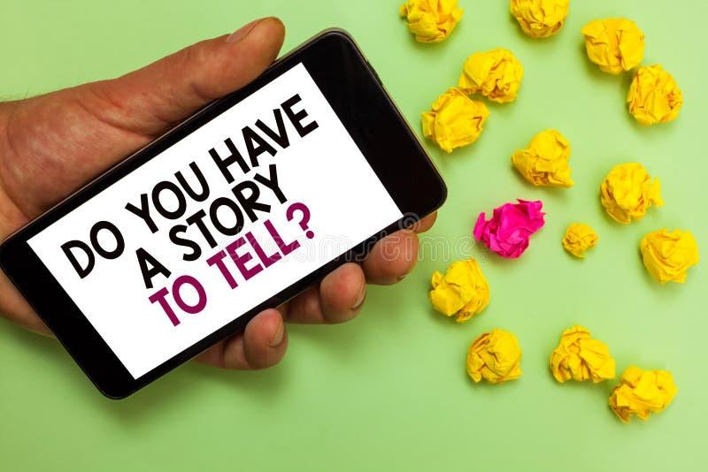 Texte d'écriture de Word vous avez une histoire pour dire la question Le concept d'affaires pour des contes de souvenirs de fabul image libre de droits