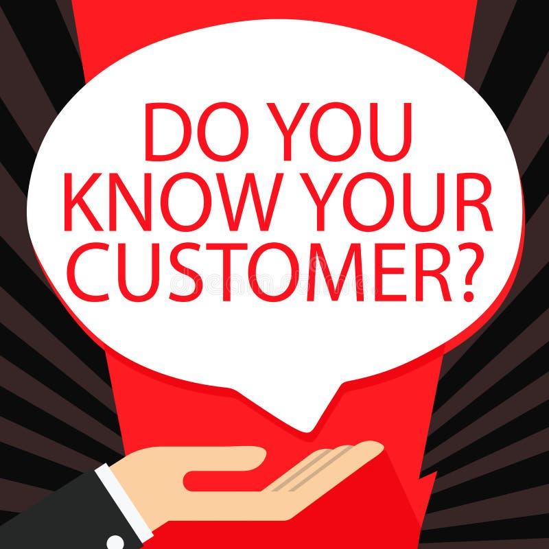 Texte d'écriture de Word vous connaissez votre question de clientèle Concept d'affaires pour le service identifier des clients av illustration libre de droits