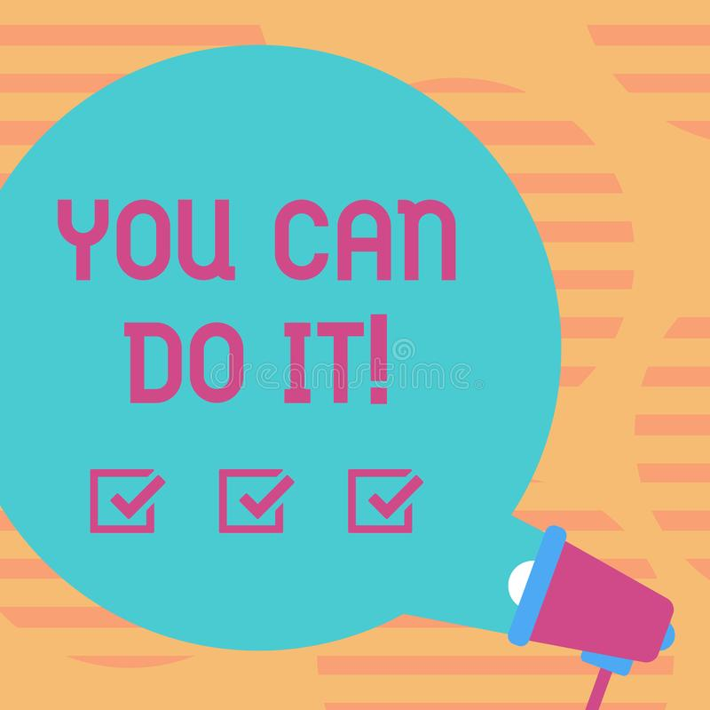 Texte d'écriture de Word vous pouvez le faire Concept d'affaires pour le blanc positif de motivation de message inspiré autour de illustration stock