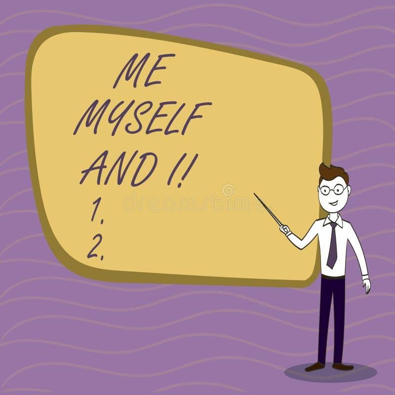 Texte d'écriture m'écrivant moi-même et I Responsabilité de prise selfindependent égoïste de signification de concept des actions illustration stock