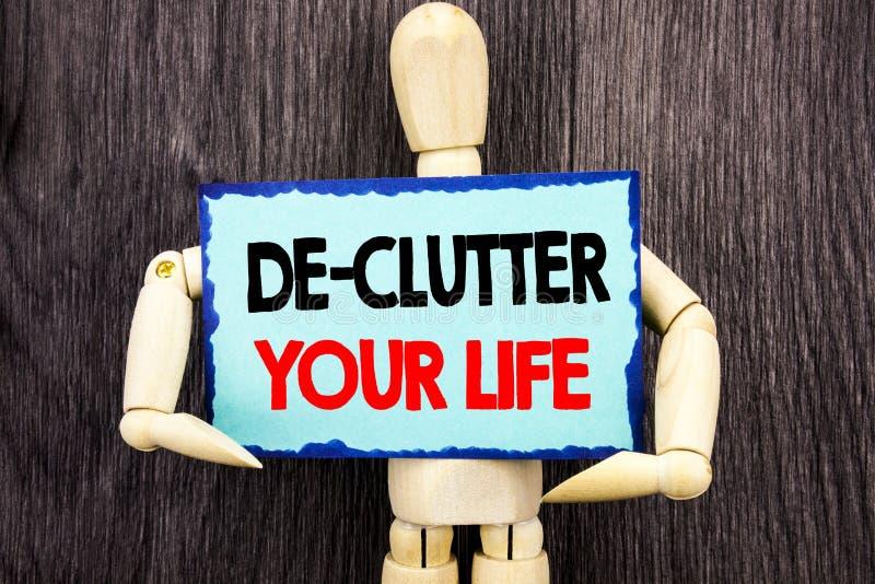 Texte d'écriture montrant à De-pagaille votre vie La signification de concept libèrent moins de routine propre fraîche de chaos é photo libre de droits