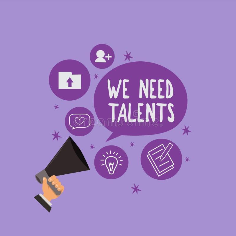 Texte d'écriture nous avons besoin de talents Le concept signifiant le nouveau recrutement faisant des entrevues choisissent les  illustration libre de droits