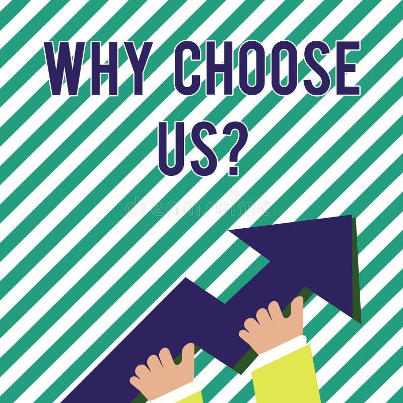 Texte d'écriture pourquoi choisissez Usquestion Concept signifiant des raisons de choisir notre photo de produits ou d'offres de  illustration stock