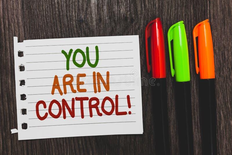 Texte d'écriture vous êtes dans le contrôle Responsabilité de signification de concept au-dessus des mots colorés d'une autorité  images stock
